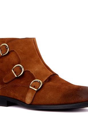 Светло-коричневые замшевые мужские ботинки на молнии
