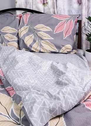 Семейный комплект постельного белья из ранфорса. листья