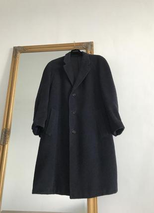 Синее удлиненное зимнее пальто из шерсти ламы k16