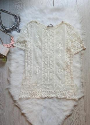 Белая молочная  ажурная блуза майка футболка гипюр с вышивкой