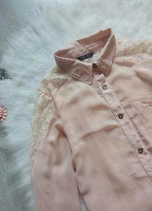 Пудровая блуза рубашка с ажурными плечиками гипюр бежевая длин...