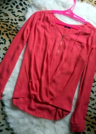 Новая розовая рубашка блуза с замочком на декольте запах