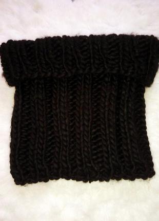 Черный вязанный шарф снуд крупной вязки с косами