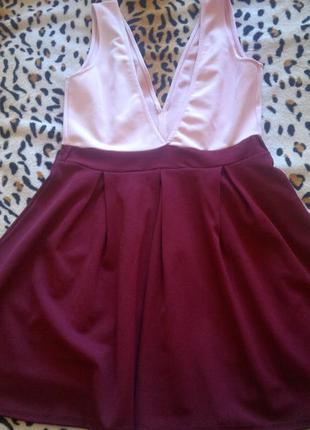 Секси платье с пышной юбкой колокольчик неопрен розовый марсал...