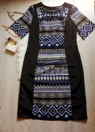 Черное платье миди с синим белым орнаментом вишиванки в камнях...