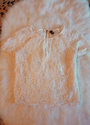 Белая ажурная короткая блуза с рукавами c кроп топ гипюр ажур ...