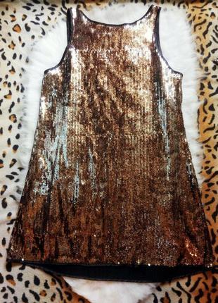 Нарядное платье туника блуза в золотых пайетках блестках батал...