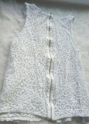 Белая блуза кроп топ ажурная гипюр белая майка молния замок