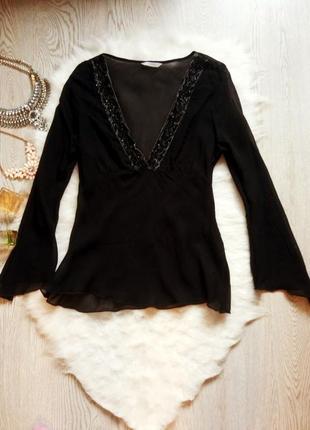 Черная нарядная блуза сетка с глубоким вырезом декольте, вышив...