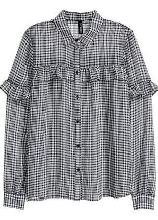 Блуза рубашка в клетку с воланами рюшами черная белая серая по...