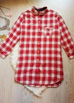Длинная рубашка в красную белую клетку с сердечками большой ра...