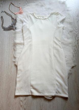 Новое белое платье с сеточкой короткое миди с рукавами нарядно...