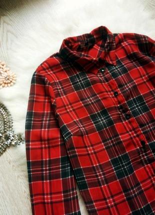 Шифоновая красная рубашка в черную клетку с рукавами червона б...