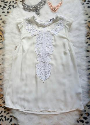 Белая блуза с вышивкой гипюром рубашка ажур шифон new look нар...