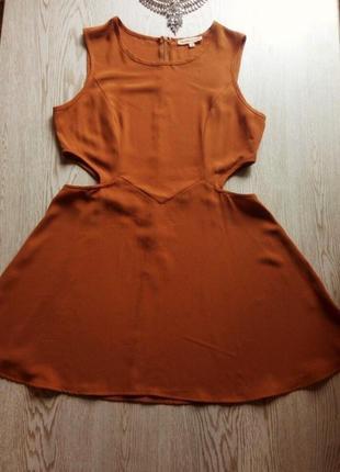 Идеальное горчичное платье с вырезами на талии юбка солнце пыш...