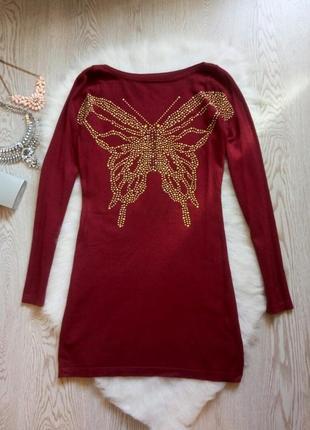 Теплое платье бордо мини с длинными рукавами и большой бабочко...