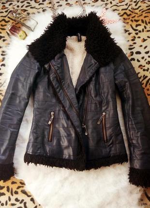 Кожанка кожзам куртка на овчине с мехом синяя черная дубленка ...