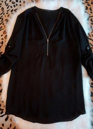 Черная блуза туника с секси молнией на декольте серебряная шиф...