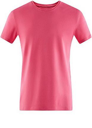 Розовая футболка хлопок без рисунков малиновый h&m однотонная
