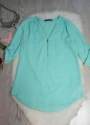 Голубая бирюзовая длинная блуза с молнией на вырезе декольте т...