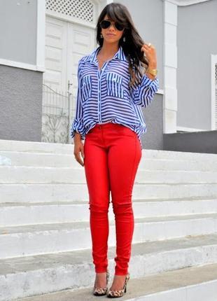 Плотные красные джинсы скинни с молниями заклепками низкая тал...