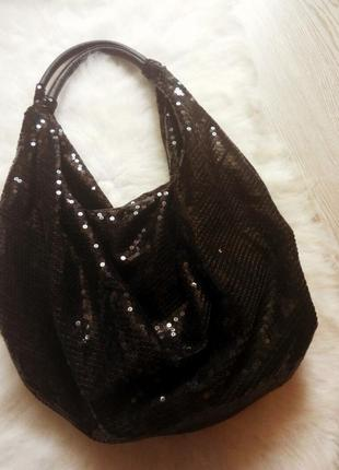 Новая средняя вместительная черная сумка в пайетках шоппер бле...
