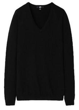 Черный свитер кофта вязаная с вырезом натуральная шерсть мерин...