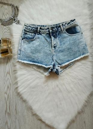 Голубые светлые с белым джинсовые шорты высокая талия посадка ...