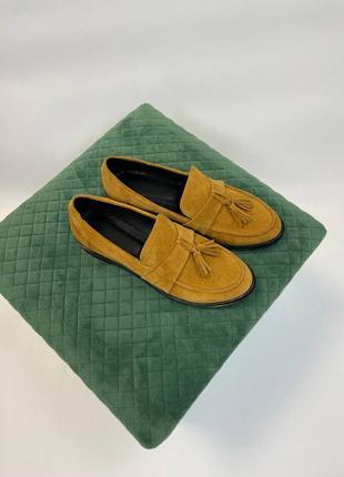 Туфли лоферы натуральная кожа замша италия