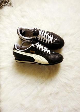 Черные кожаные кроссовки кеды с белыми полосами и шнуровкой от...