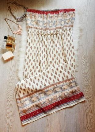 Длинное платье сарафан в пол бандо без бретелей рисунком принт...