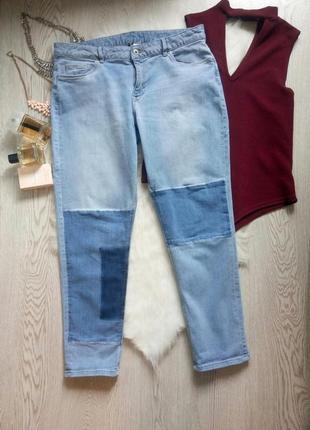 Голубые светлые плотные джинсы с синими печворк нашивками мом ...