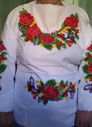 Женская вышиванка ручной роботы вышитая бисером Украинская с пояс