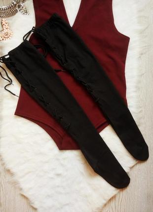 Черные плотные высокие носки гетры с люверсами шнуровкой сзади...