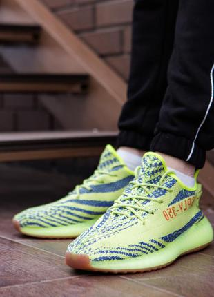 Мужские кроссовки adidas yeezy 350 салатовые
