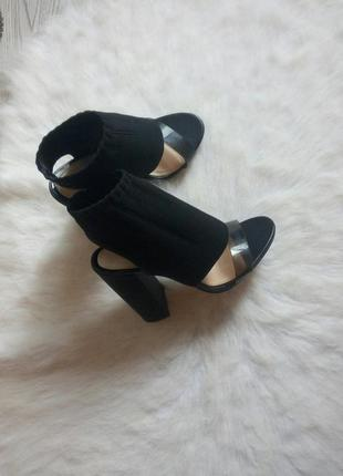 Черные дизайнерские босоножки толстый блочный высокий каблук с...