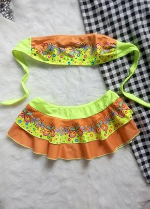 Яркий цветной неон детский раздельный купальник бандо с юбкой ...