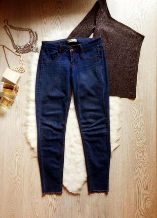 Синие джинсы с необработанным краем снизу укороченные капри pu...