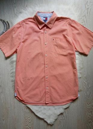 Летняя натуральная мужская цветная рубашка красная в белую кле...