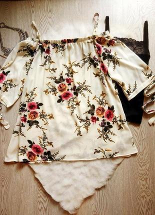 Белая длинная блуза туника платье в цветочный принт рисунок от...