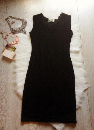 Черное ажурное платье короткое миди в обтяжку по фигуре нарядн...