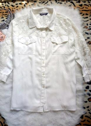Белая рубашка с ажурными плечиками блуза гипюр вышивка батал б...