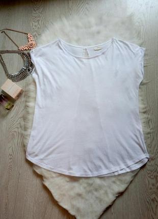 Новая белая футболка со вставкой сеточки на спинке шифон оверс...