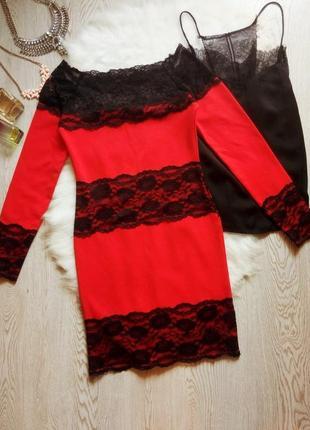 Нарядное красное платье короткое миди с черным гипюром ажурным...