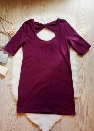 Короткое фиолетовое платье с открытой спиной бантами хлопок пр...