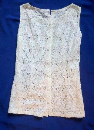 Белый кроп топ ажурная блуза гипюр вышивка пуговички короткая ...