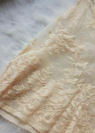 Ажурная блуза кроп топ беж нюд гипюр майка вышивка пудра