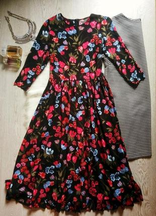 Черное натуральное длинное платье в пол цветочный принт с рука...