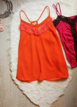 Морковная оранжевая майка блуза шифон с бретелями бахромой в б...