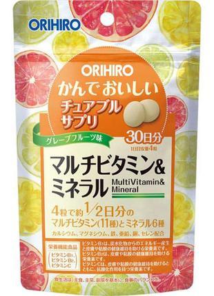 Японские мультивитамины со вкусом грейпфрута orihiro, 120 шт.